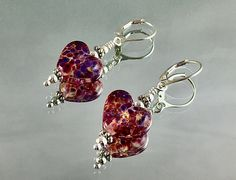 TICKLED PINK and PURPLE Lampwork Earrings Sterling Leverbacks Sterling Spacers and Beads Romantic Gift Valentine's Gift Daughter Gift Valentine Gift For Daughter, Jewelry Gifts, Handmade Jewelry, Labradorite Ring, Christmas Jewelry, Minimalist Earrings, Custom Jewelry, Women's Earrings, Purple