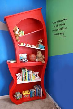 I know this isn't a birthday idea, but thought it was cute!! Dr. Seuss Bookshelf!