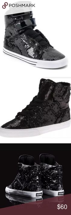 Supra Black Sequins High top Sneakers Sz 7 Rare The iconic and highly imitated Skytop design has been rebuilt from a new last and fashioned with contemporary colorways created exclusively for women. A padded mesh collar and tongue provide superior comfort and fit, and a vulcanized sole adds classic style.  Like new. No smoke/pets. Supra Shoes Sneakers