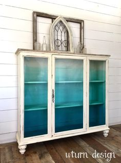 Sold Coastal painted hutch/ china cabinet aqua/ от UTurnDesign decor diy furniture Items similar to Sold! Coastal painted hutch/ china cabinet, aqua/ turquoise ombre cabinet on Etsy Funky Furniture, Refurbished Furniture, Paint Furniture, Repurposed Furniture, Furniture Projects, Furniture Making, Furniture Makeover, Vintage Furniture, Refurbished Hutch