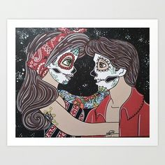 Disney Sugar Skull Rockabilly ©Kitty OGane (My Art) ariel and eric little mermaid