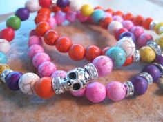 We spotted this fun bracelet using the TierraCast Skull Bead.  Looks great! ONE Silver Sugar Skull Tierracast bead with multicolor howlite beads stretch bracelet, stackable bracelet, mix and match. $16.99, via Etsy.