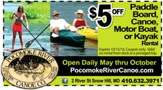 Enjoy a gorgeous day on the Pocomoke River via paddle board, canoe, motor boat, or kayak with the Pocomoke River Canoe Company. Take $5 off the rental of the above with your Frugals coupon available at www.frugals.biz. Learn more about Pocomoke River Canoe Co. in Snow Hill, MD at http://www.pocomokerivercanoe.com/