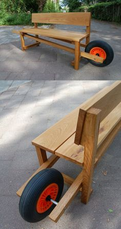 Bench and wheelbarrow - Modern Design Diy Wooden Projects, Small Wood Projects, Woodworking Projects Diy, Wooden Diy, Woodworking Plans, Wood Crafts, Backyard Furniture, Diy Outdoor Furniture, Backyard Projects