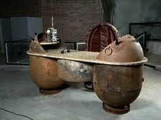 Unique Furniture Design Ideas Recycling Old Naval Mines into Decorative Items in Steampunk Style Casa Steampunk, Steampunk Desk, Steampunk Furniture, Steampunk Fashion, Steampunk Wedding, Steel Furniture, My Furniture, Unique Furniture, Furniture Making