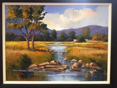 Oil Painting - River on Farm by Willie Strydom