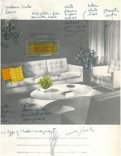 Check out this original Florence Knoll mock-up/drawing with Cato Upholstery in Yellow.