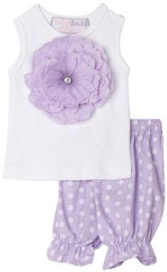 Mud Pie Baby Buds Cotton Tank Top and Bloomer Shorts Set, Purple