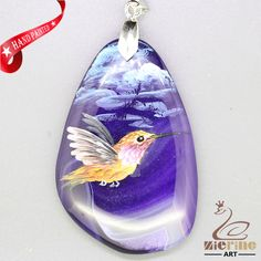 FREE SHIPPING HAND PAINTED HUMMING BIRD GEMSTONE NECKLACE PENDANT ZZ30 00201 #ZL #PENDANT