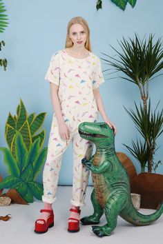 Dinosaur Print Jumpsuit Multicolour http://www.thewhitepepper.com/collections/spring-15/products/dinosaur-print-jumpsuit-multicolour