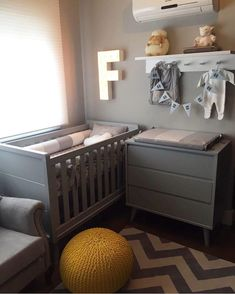 Very Nice monochromatic feel to room Baby Room Closet, Baby Room Curtains, Baby Room Diy, Baby Bedroom, Baby Boy Rooms, Baby Room Decor, Baby Cribs, Baby Room Furniture, Baby Room Colors