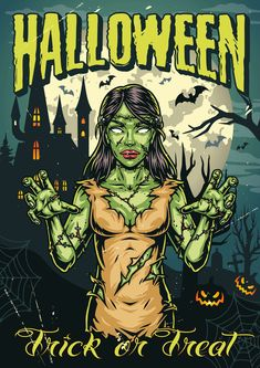 Colorful Zombie Girl Poster design. Download Halloween vector designs on our website.