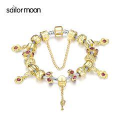 Fine bracelets for women 2016 KPOP style rose flower charm bracelets lucky key love heart bead bracelet&bangle fit gift