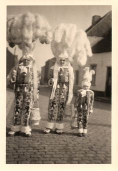 Belgian Carnival of Binche Original 1940s Vintage RARE Real Photography… Fancy Trio of Gorgeous Gilles Outdoor Snapshot in Costume-Headdress