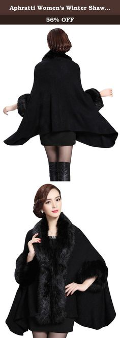 7ae8ffd7479a6 Aphratti Women s Winter Shawl Cloak Cape Coat with Warm Faux Fur One Size  Black. Brand