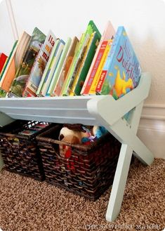 DIY Projects | Do your kids LOVE books and have tons of them? Get the FREE building plans for a Land of Nod knock off Children's Book Caddy! It keeps books neat and orderly while making them easily accessible to kids.