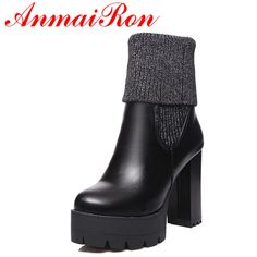 49.36$  Watch now - http://aliyg6.shopchina.info/go.php?t=32738410963 - ANMAIRON 2 Wear High Heels Classic Black Shoes Woman Winter Short Boots Platform Shoes Ankle Boots for Women Riding Boots Shoes 49.36$ #buyininternet