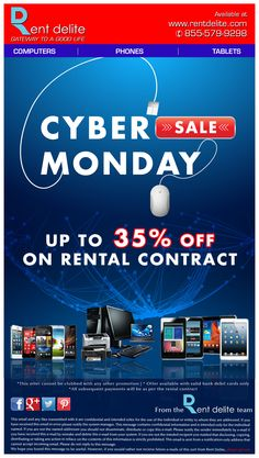 RentDelite offers  #CyberMondaySale!!!  Grab up to 35% OFF on selected electronics.
