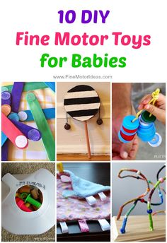10 DIY Fine Motor Toys for Babies Baby & Toddler Activities and diy toys for toddlers - Diy Toys Diy For Kids, Crafts For Kids, Diy Toys For 1 Year Old, Homemade Baby Toys, Baby Mobile, Baby Games, Baby Play, Infant Activities, Toddler Toys