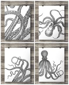 Nautical vintage octopus prints- Black and white graphic - Set of four - Printable wall art