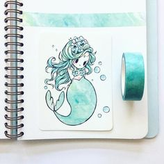 "(@birduyen) en Instagram: ""pale mint #washitape mermaid for the last day of #mermay! ^0^ I hope you enjoyed this little series~"""