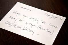 A handwritten note from Christopher Bailey to Burberry fans ahead of the Menswear S/S13 show today