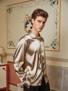 Silk Shirts, Satin Shirt, Androgynous Fashion, Silk Satin, Formal Wear, Buddhism, Men Dress, Menswear, Artists