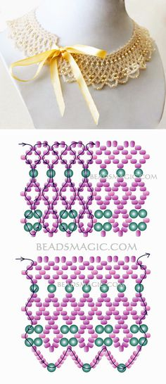 Free pattern for beaded necklace Marquise 11/0-4 mm