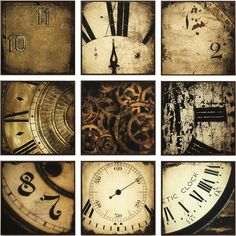 Clock collage in the Sherlock Holmes furniture collection. I dig it.