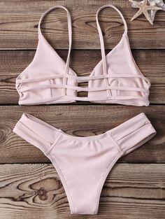 Strappy Banded Bikini Set - YELLOWISH PINK S Mobile