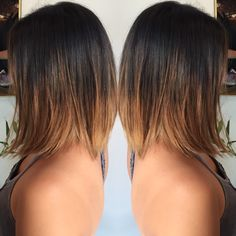 brunette balayage ombre on Asian hair. Slightly Aline bob haircut. #hairbykaterina