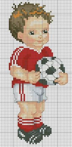 William is a great soccer player! Cross Stitch For Kids, Cross Stitch Baby, Cross Stitch Flowers, Cross Stitch Charts, Cross Stitch Designs, Cross Stitch Patterns, Cross Stitching, Cross Stitch Embroidery, Embroidery Patterns