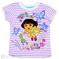 Jumping Dora Girls Lavender Striped Top. #Tshirts #GirlsTops #Clothing