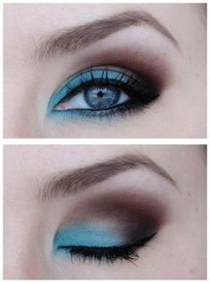 Cool way to do teal eye shadow!