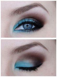 Cool way to do teal eye shadow!