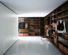 Corner sectional melamine-faced chipboard walk-in wardrobe DRESSING ROOM by Porro