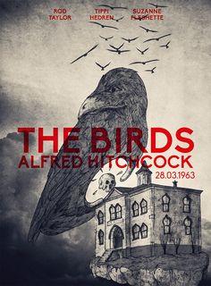 Alternate movie poster for the birds - Hitchcock. FB --> https://www.facebook.com/shokart74/