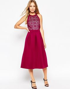 Trending On ShopStyle - Asos Premium Cutwork Full Midi Scuba Skater Dress - ShopStyle Women