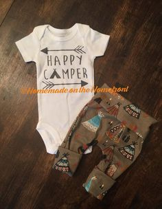 Happy Camper newborn boys coming home outfit by HomemadeHomefront
