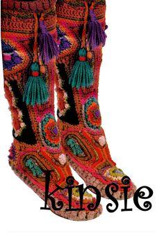 Vintage 70s Crochet Pattern MOCCASIN Boots  PDF by KinsieWoolShop, $4.99