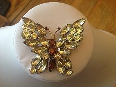 Large-Vintage-Rhinestone-Butterfly-Brooch-Broach-Green-Amber