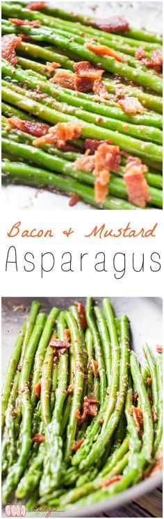 Bacon and Mustard Asparagus. The perfect side dish for all of your holiday gatherings + super easy weeknight side.