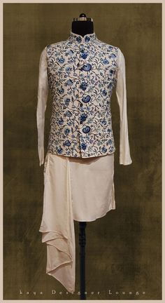 79f1068900b18 Traditional Wear Ethnic Ethnicwear Sherwani Nehru Jacket Ethnic Jacket  Embroidered Jacket Alloverembroidery Blue Jacket Pocket Square Mens Fashion  Designer ...