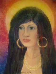 Gypsy girl - Pastell - 21 x 28 cm - by Márta Bolla - Hungary Hungary, Gypsy, Mona Lisa, Portraits, Paintings, Artwork, Women, Pastel, Art Work