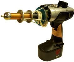 The DIY & Gun& is a small homemade Tesla Coil gun powered by an battery. It also has a special plasma discharge terminal that can fire ionized gas and flames! The whole system is mounted inside the body of an old cordless drill so that is fully portable. Nikola Tesla, Diy Electronics, Electronics Projects, Tesla Inventions, Tesla Technology, Steampunk Weapons, Diy Tech, Electrical Projects, Cordless Drill