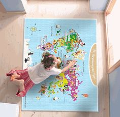World Map For Kids - Cute and Colorful - Rugs (can turn these maps into shower curtains, curtains, wall decals, printable posters, puzzles, etc!)