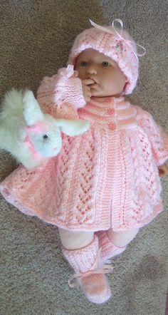 b5870f7ecb81 Custom handmade knit baby girls pink Sweater hat booties set Baby Girl  Sweaters, Knitted Baby