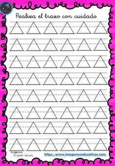 Cuaderno de preescritura y perfeccionamiento de caligrafía - Imagenes Educativas Tracing Worksheets, Preschool Worksheets, Pattern Worksheet, Simpsons Art, Dotted Line, Writing Practice, Filofax, Diy Cards, Activities For Kids