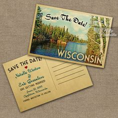 This DIY vintage travel Save The Date postcard features Shays Dam, Wisconsin in fun mid-century retro style. Wisconsin can be changed to any