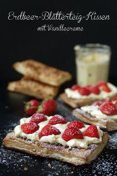 Erdbeer-Blätterteig-Kissen, Erdbeeren, Blätterteig, Backen, Gebäck, Kuchen, Paradiescreme, Vanillecreme